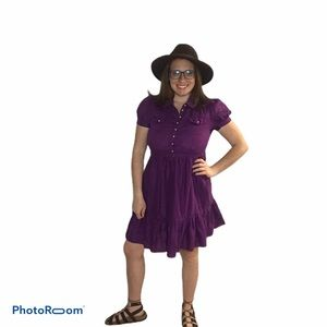 FRENCH CONNECTION DRESS PURPLE PUFF SLEEVE